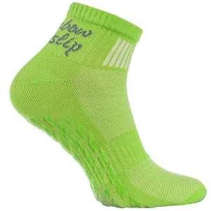 1 paire de Chaussettes Vert Antidérapantes ABS Idéal pour les Sports: Yoga, Fitness, Pilates, Arts Martiaux, Danse, Gymnastique, Trampoline Tailles 39-41, le Coton Respirant, Confort pour les pieds