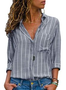 AitosuLa Chemisier Femme Blouse Rayures Col V Casual Mode Tunique Haut Top Shirt Manche Longue Rayures Blanc Gris S