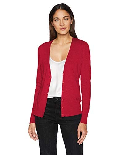 Amazon Essentials Vee Cardigan Gilet Rouge Red, Large