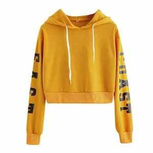 DEELIN Sweatshirt à Capuche Court à la Mode des Femmes imprimé Drapeau américain