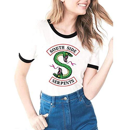 Doux Tissu Riverdale-South Side Serpents Été Femme Imprimé T-Shirt à Manches Courtes Absorption Respirant Mode Casual Tee Shirt Top