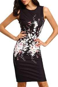 La Femme Élégante Robe De Bodycon Cou Sleveeless Changement Cycle Floral Black L