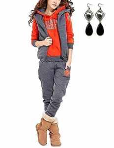 Modetrend Femmes Survêtement Casual Veste Sweat à capuche Jumper Pulls Outwear Sweatshirt + Gilet + Pantalons 3pcs ,Orange et Gris ,L=EU 38