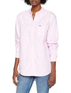 Tommy Jeans Femme Tommy Classics Chemise Manches Courtes Rose (Oxford Pink 612) Large