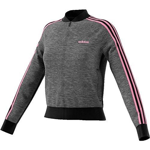 adidas Essentials Seasonal Full Zip Bomber Track Top pour Femme M Gris foncé chiné/Noir/Rose (Dark Grey Heather/Black/True Pink)
