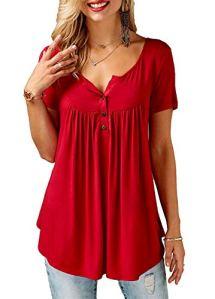 AMORETU Femme Chemise Col V Femme Haut Sexy Chemisier T Shirt Manche Courte Tops D'été Tunique Rouge XL