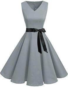 Bridesmay Robe de Soirée Cocktail Vintage Rétro Années 50 Style Audrey Hepburn Rockabilly Swing Col en V sans Manche Grey M