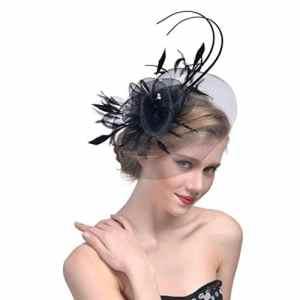 Cérémonie Chapeau Moonuy Femmes Fleur Mesh Rubans Plumes Bandeau Formal Occasion banquet Chapeaux Pince à Cheveux Élégant Plume Fascinator Mesh Voile Chapeau Mariage Fête Cocktail Hat (Noir)
