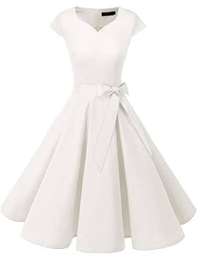 Dresstells Version 6.0 Vintage 1950's Robe de soirée Cocktail rétro Style années 50 Manches Courtes White M
