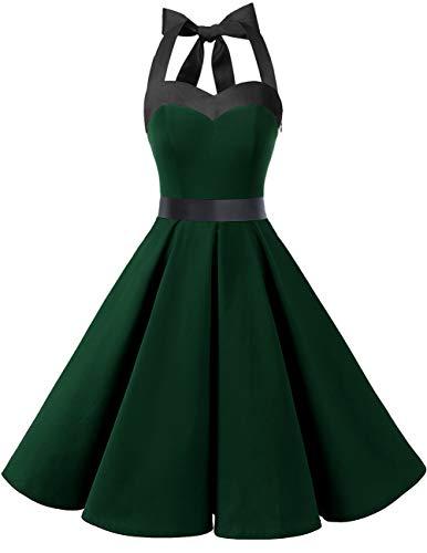 Dresstells Version3.0 Vintage 1950's Audrey Hepburn pin-up Robe de soirée Cocktail, Style Halter années 50 Dark Green 3XL