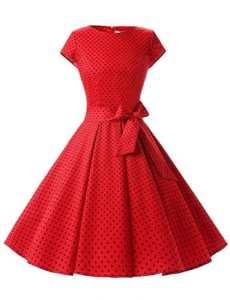 Dressystar DS1956 Robe à 'Audrey Hepburn' Classique Vintage 50's 60's Style à Mancheron Rouge à Pois Noir A S