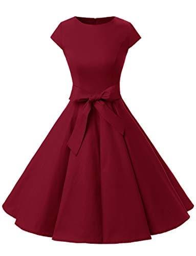 Dressystar Robe à 'Audrey Hepburn' Classique Vintage 50's 60's Style à Mancheron 1956Dark Red L
