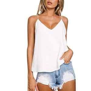 Femme Débardeurs Col V Gilet Bretelle Couleur Pure Tops Dos Nu Creux Loose Camisole T-Shirts à Manches Courtes Été Bodys Chemisiers et Blouses Marlene1988