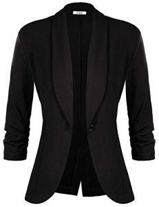 iClosam Veste Femme Blazer Chic De Costume Casual Slim Tailleur À Manches 3/4 Un Bouton, Noir, XL