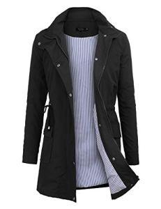 Imperméable à Capuche Femme, Ponchon de Pluie, Trench Capuche Femme, Manteau de Pluie Raincoat Waterproof (Noir, Small)
