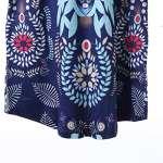 MINASAN Tunique Femme Élégant Vintage Fleur Motif Manches 3/4 T-Shirt Imprimé Col Rond Plissé Longues Blouse Top, Bleu + Vert, XL