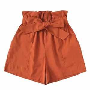 Pantalon Courte Femme SANFASHION,Caleçon Courte Evasé Taille Haute Été Casual Décontracté Pantalons de Plage Ceinture Chic Mode Tendance Casual (36, Orange Poche élégant)