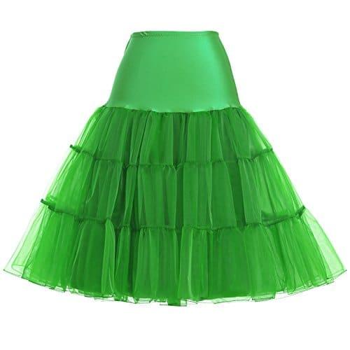 Yafex Belle Poque Femme Jupon sous Robe/Jupe Court Vintage Années 50 en Tulle BP177, Green, L