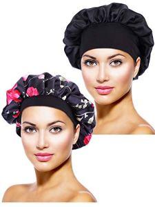 2 Pièces Bonnet en Satin Chapeau de Sommeil de Nuit Bonnet de Sommeil pour Femmes Filles (Noir, Fleur Noire Imprimée)