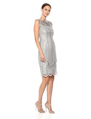 Adrianna Papell Femme AP1E203525 Robe pour Occasion spéciale – Argent – 42