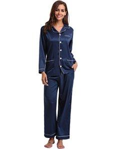 Aibrou Femmes Ensemble Pyjama en Satin Manche Longue Vêtements de Nuit pour Toutes Les Saisons Bleu L