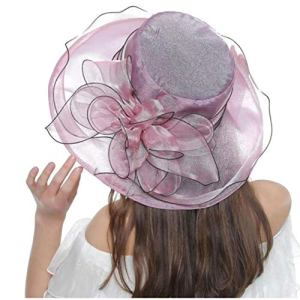 AMOYER Femmes Eglise Organza Robe Kentucky Derby Bibi Cap Tea Party De Mariage Chapeaux De Soleil