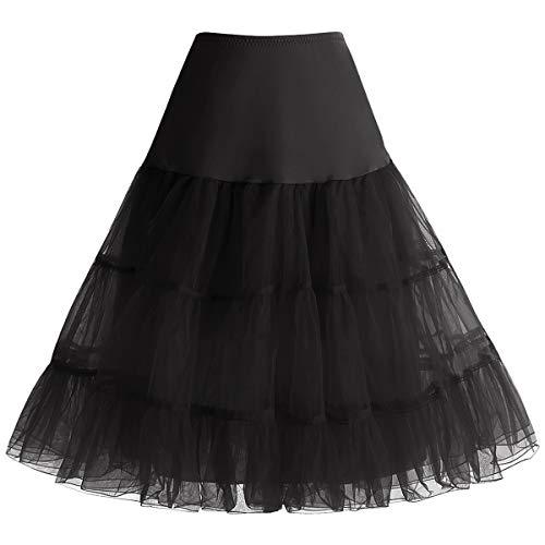 Bbonlinedress Jupon Femme Style année 50 Jupon Rockabilly 4 Tailles à Choisir Noir S