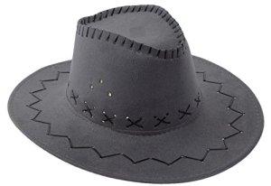 Bigood Adulte Vogue Cowboy Chapeau Western Accessoire Large Bord Unisexe Gris