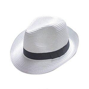 Boolavard Femmes Large Bord Paille Panama Roll Up Hat Fedora Beach Sun Chapeau UPF50 + (Blanc)