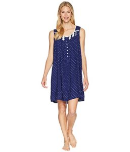 Eileen West Women's Short Chemise, Indigo Ground with White DOT, XS
