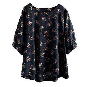 Femme Chemisier imprimé, Manche Moyen T-Shirt Plus Size Tops Floral Blouse Bringbring