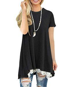 Femmes Manche Courte T-Shirt Tunique Chemise Loose Haut Long Tops avec Dentelle [Noir L]