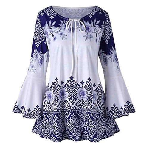 Guesspower Chemisier Femme Manches Longues Tunique Blouses Tops T-Shirt Mode Femmes Grand Taille Imprimé Flare Sleeve Tops Blouses Keyhole T-Shirts, S-XXXXXL