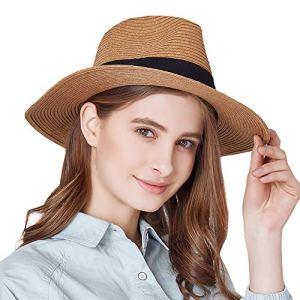 iHomey Panama Straw Sun Hat Femmes Pliable Large Brim Beach Sun Caps
