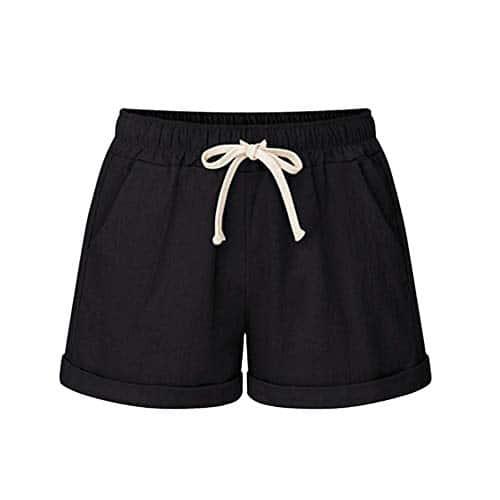 ITISME Pantalon Short Femmes Ete Coton Lin Grande Taille Haute Poche Bandage SolideShort Fonctionnement des Short Sports LargeJambe Un Pantalon Bermuda Femme