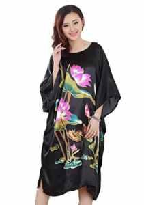 JTC Femmes Robe/Vêtement de Nuit Grande Fleur-Soie mélangé-4 Styles(Lotus-Noir)