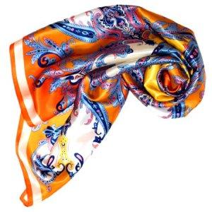 Lorenzo Cana Foulard pour la femme – écharpe de 100% soie pour le printemps et l´été, carré avec les mesures de 90 x 90 cm – une sensation de luxe en orange jaune rose bleu blanc