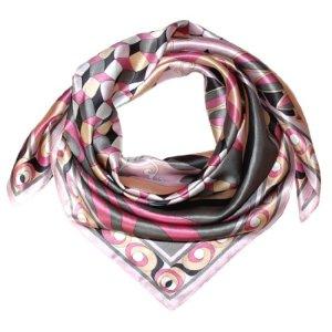 Lorenzo Cana Foulard pour la femme – écharpe de 100% soie pour le printemps et l´été, carré avec les mesures de 90 x 90 cm – une sensation de luxe en rose saumon gris blanc beige