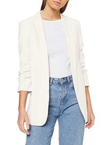 Pieces NOS PCBOSS 3/4 Blazer Noos Veste de Costume, Blanc (Cloud Dancer), 40 (Taille du Fabricant: Medium) Femme