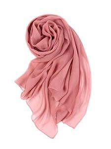 Prettystern – 176 CM Écharpe/Stole Femme Grand Format oblong 100% Soie Georgette pour Printemps et l´Éte Unicolore – rose cendré