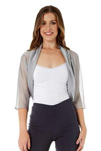 Roman Originals Bolero Tulle Semi-Transparent Femme 38-48 – Gris – Taille 40