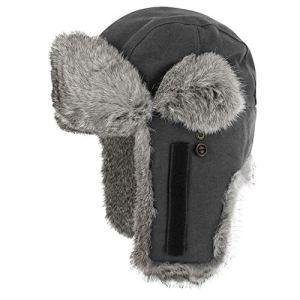 Stetson Lapeer Hatfield Femme/Homme | Bonnet en Fourrure Chapka d´aviateur avec Doublure, Fermeture Velcro, Velcro Automne-Hiver | M (56-57 cm) Gris