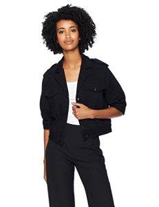 T Tahari Women's Glorie Denim Short-Sleeve Jacket, Black, S