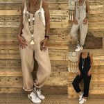 Tomwell Combinaisons de Playsuit Occasionnels Barboteuses de Mobiles Bretelles Harem Sarouel Pantalon Salopette Jumpsuit Noir FR 44
