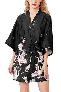 Uniquestyle Femme Kimono Robe de Nuit Peignoir Satin Fleurs Paon Vêtements Chemise de Nuit (Noir2, M)
