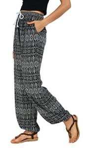 Urban GoCo Femmes Boho Harem Pantalon Dames Floral Imprimer Élastiquée Taille Pantalon (XL, #1)