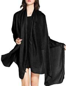 Wedtrend Femme Foulard Châle Echarpe Mariage en Lin Polyester Brillante Cache Bikini Maillot de Bain Plage Cover up WTC30002 Noir