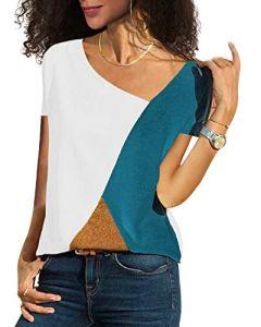 YOINS Haut Pull Femme Chemise Été Chic T-Shirt Manches Courtes Chemisier Coton à Col Rond Tee-Shirt Mode Rayures