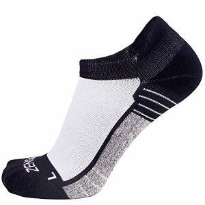 Zensah Limited Edition No-Show Chaussettes de Course–Anti-Ampoule Confortable Absorbe la Transpiration Chaussettes de Sport pour Hommes et Femmes, Femme, Blanc, Large