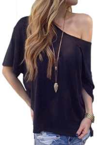 Zilcremo Les Femmes Boatneck Occasionnels Le T – Shirt Manches Courtes Coton Plus Solide Black L